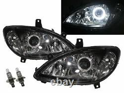 W639 Viano 03-10 Guide Led Angel-eye Lights Front Lighthouse Bk For Mercedes-benz Lhd
