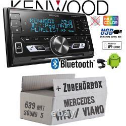 Kenwood Autoradio pour Mercedes Vito/Viano 639 2-DIN / Bluetooth / USB Montage