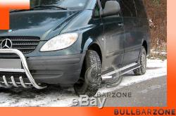 Mercedes Vito/viano 2004-2010 Marche-pieds Inox Plat / Protections Laterales