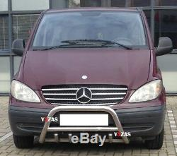 Pare Buffle Bullbar Inox Pour Mercedes Benz Vito Viano De 2003-2014 Nouveau