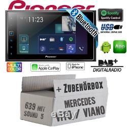 Pioneer Radio Pour Mercedes Vito/Viano 639 2-DIN Bluetooth DAB+ Apple Carplay